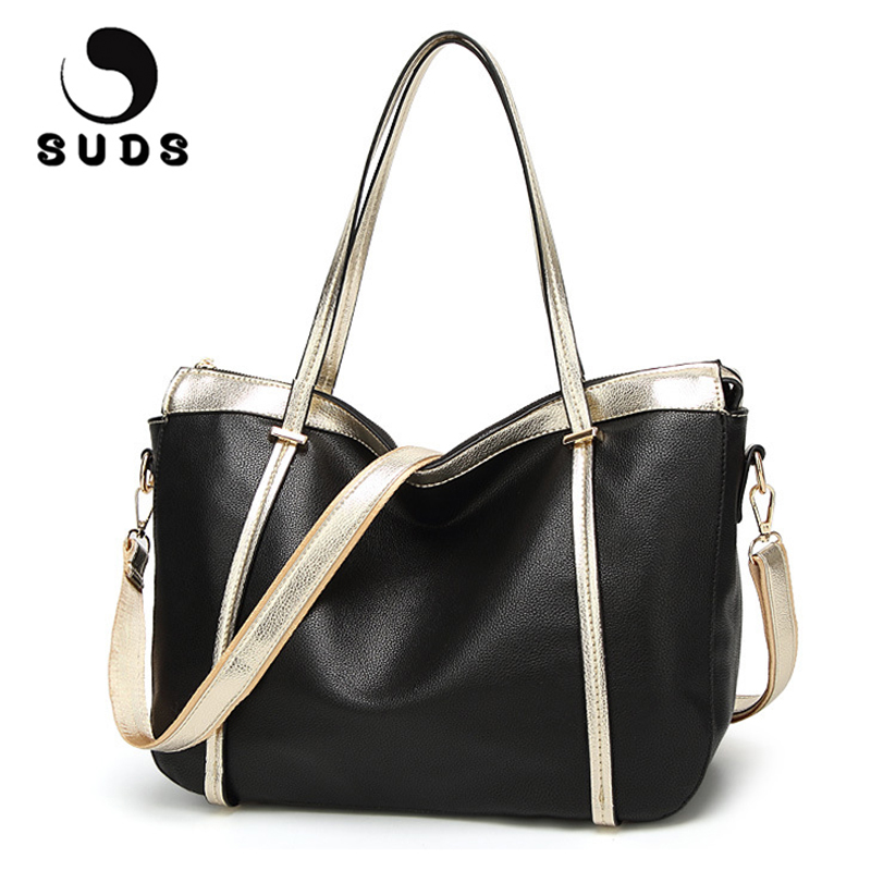 SUDS Fashion Womens Shoulder Bags PU Soft Leather Handbag 2017 High Quality Zipper Big Female Large Tote Bags For Women Black <br>