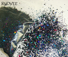 50gram x Mixed Laser Black Colors(Glitter Powder+Hexagon)Shape for Nail Art Decoration and Glitter Crafts(China)