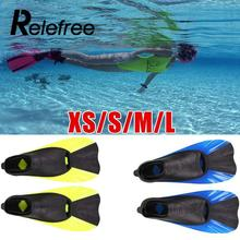 Relefree Swimming Fins Portable Short Frog Shoes Adult Snorkeling Foot Flipper Kid Diving Fins Beginner Swimming Equipment meias(China)