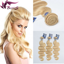 7A grade 3pcs/lot blonde hair 100% human hair extension indian virgin hair weft body wave 613# hair weaving fast shipping
