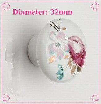 Dia. 32mm tulip flower print ceramic Modern knob cabinet knob drawer pulls<br><br>Aliexpress