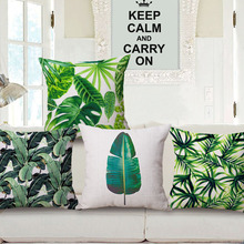Green Leaf Cushion Cover Banana leaf Pillow Covers 45X45cm Bedroom Sofa Decoration Good for Eye Rest Baby Kids Favor