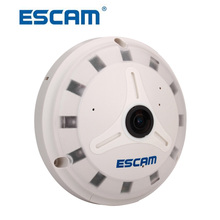 ESCAM IP Camera QP130 Fish Eye 1.3MP HD Onvif P2P Day Night Vision 360 Degree Security Camera Support 128GB SD Card