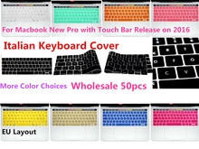 "HRH Wholesale 50pcs EU Italian Silicone Keyboard Cover Skin For MacBook Pro 13"" A1706 Pro 15"" A1707 With Touch Bar Release 2016(China)"