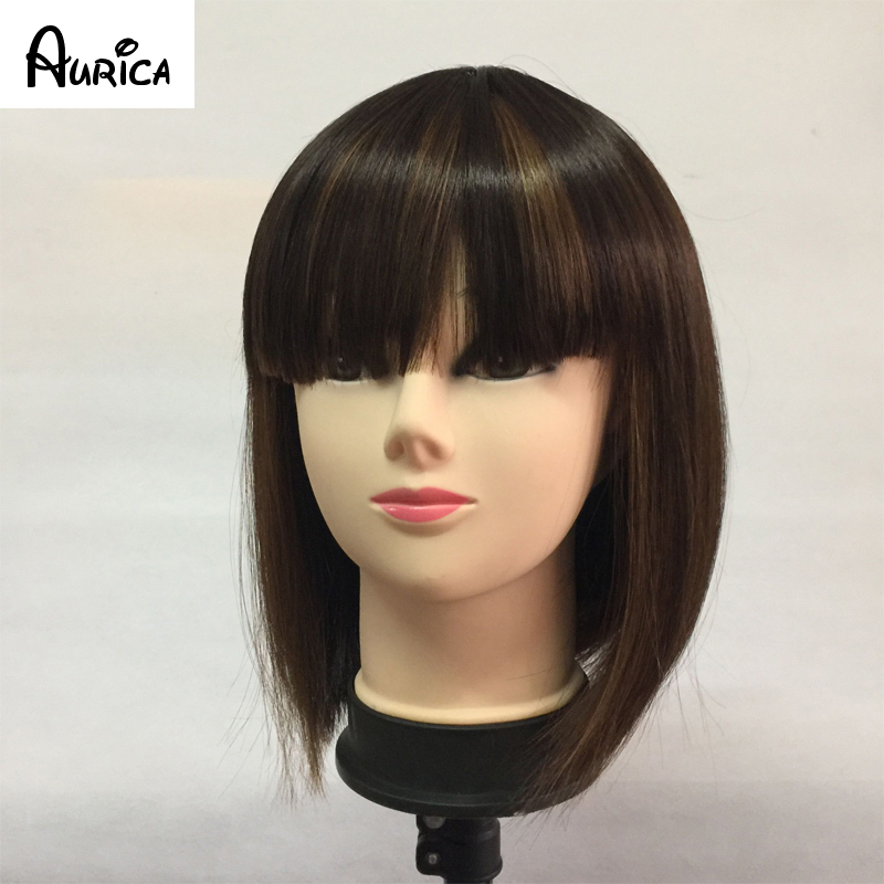 Natural Fashion Mixed Dark Brown Short Bob Straight Heat Resistant Synthetic Hair Women Wigs With Full Fringe or Bangs<br><br>Aliexpress
