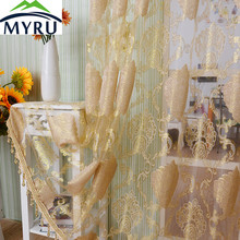 MYRU Europe Style Jacquard Tulle Curtain Cut Floral Tulle Bedroom Living Room Tulle Curtain Sheer Panel(China)