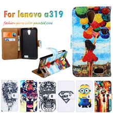Hot Selling Painted Leather Covers For Lenovo A319 4.5 Inch A 319 Cases Hoods Shells Housings Flip Holster Cell Phone Bags