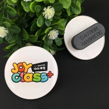 10pcs 44*44mm custom logo button badge with magnetic, round plastic name tags magnet badge holder with epoxy face(China)