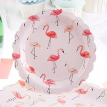 Riscawin 10pcs 7inch Flamingo Birthday Wedding Party Supplies Decoration Cake Dish Disposable Paper Plates Baby Shower Favors(China)
