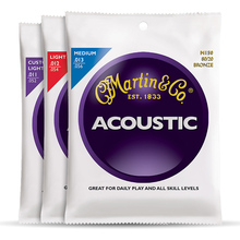 Martin M175 80/20 Bronze Custom Light Acoustic Guitar Strings, 011-052(China)