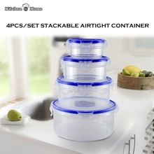 4PCS/Set Clear Airtight Food Storage Containers Keeper Stackable Plastic Fresh Lunchbox Bento 1300ML,650ML,350ML,150ML KK004(China)
