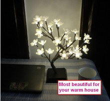 36cm Height 32 LEDs/Home Decoration Simulation Tree Bonsai Plum Flower Lamp/Christmas Wedding Party Garden Luminous White Light(China)