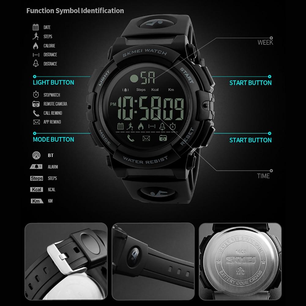 Uhren Skmei Mode Smart Uhr Männer Schrittzähler Kalorien 5bar Wasserdichte Fitness Tracker Bluetooth Digitale Uhr Relogio Masculino 1303 Herrenuhren
