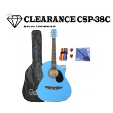 "CLEARANCE CSP-38C 38"" Basswood Cutaway Acoustic Guitar Blue with Bag Strap Pick(China)"