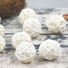 20pcs/Lot 3cm Baby Shower Rattan Ball, New Year Decoration Rattan Wicker Balls Party Decoration DIY Sepak Takraw Balls(China)