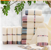 Plaid striped cotton towel face towel adult household items 3pcs / lot free shipping factory direct