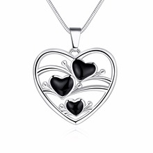 2017 heart smooth bright baking finish sd003# silver plated women necklaces()