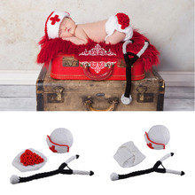 White And Red Crochet Newborn Baby Girls Nurse Costume Photography Props Knitted Infant Baby Coming Home Outfits Girls Clothing