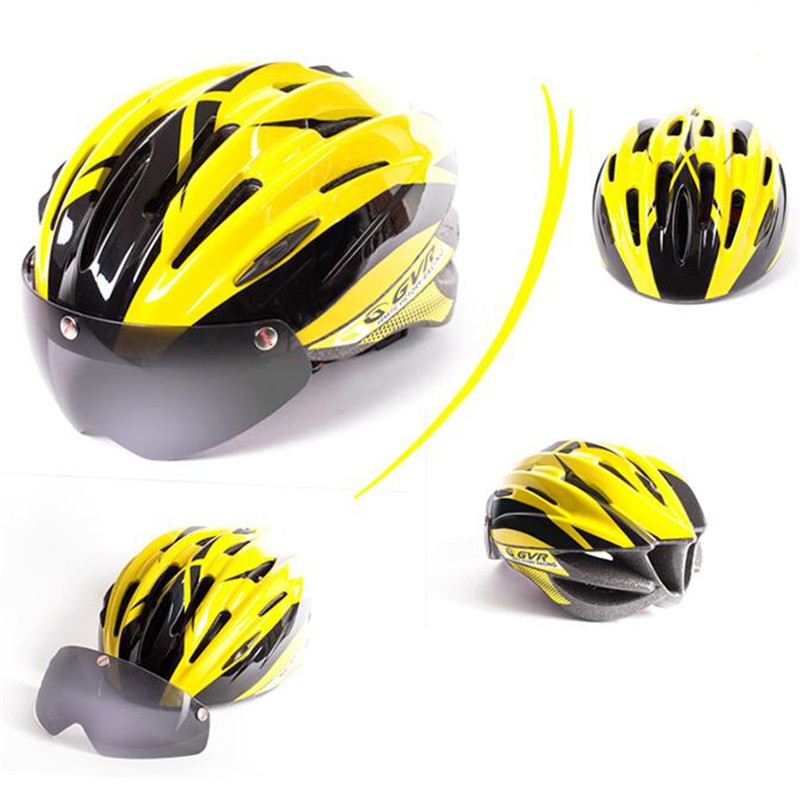 Taiwan GVR G203v phantom yellow bicycly bike cycling riding helmet with Goggles 54-61cm<br><br>Aliexpress