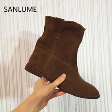 Brand SANLUME Brown Winter shoes woman genuine leather ankle boots for women Rubber sole Wedges Riding slip on size 35 to 41(China)