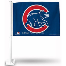 2PC Chicago Cubs Walking Bear Car Flag(China)