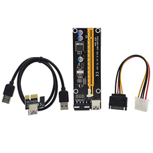 2017 New 60cm PCI Express Riser Card PCI-E 1x to 16x extender with USB 3.0 data Cable + SATA to 4Pin IDE Molex Power Supply