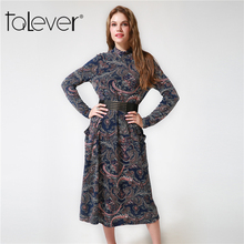 Buy Autumn Winter Vintage Women Printed Dresses Casual Loose Turtleneck Midi dress Female Elegant Sexy Party Dress belt Talever for $12.60 in AliExpress store
