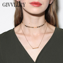 GIVVLLRY Gold Chain Choker Collar Vintage Copper Sequins Collar Chain Necklace Elegant Simple OL Ladies Silver Choker Necklace