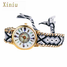 New Design Relogio Feminino Retro Clock Women Girl watches Handmade Braided Bracelet Dial Quarzt Watches Ladies Watch(China)