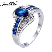 JUNXIN Unique Jewelry Blue Oval Zircon Stone Ring White Gold Filled Wedding Engagement Rings For Women Men RW0375