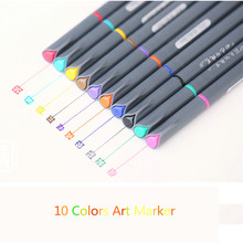 10 Colored Fineline Drawing Art Marker Pen Set Aquarelle Brushes Soft Nib Water Soluble Sketch Manga Watercolor Brush Pen Touch