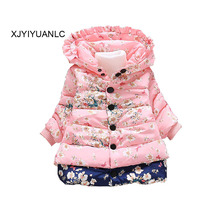 New Girls Outerwear children's clothing Baby girl fashion printed cotton coat Kids winter warm jacket clothes for 1-4 years old(China)