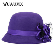 [Wuaumx] Fashion Autumn Winter Fedora hats for Women vintage veil bowler ladies felt top hat for girls homburg female hat caps(China)
