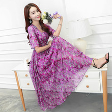 Buy 2018 Summer New Printed Slim Chiffon Dress Female Temperament Short Sleeve Bohemia Long Dresses Plus Size Women Clothing Fashion for $22.76 in AliExpress store