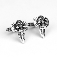 MQCHUN New Jewelry Metal Design Skull Head Cufflink Men's Shirt Cuff Button Pins Vintage Jewelry Men Party Wedding Gift(China)