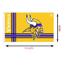 Minnesota Vikings custom NFL race flying flag, size 3X5FT, printed banners without flagpole