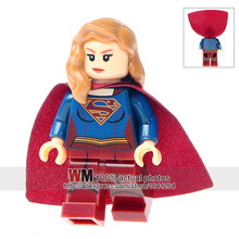 Single Sale XH759 Supergirl With Red Coat Super Heroes Building Blocks Bricks Best Children Gift Toys