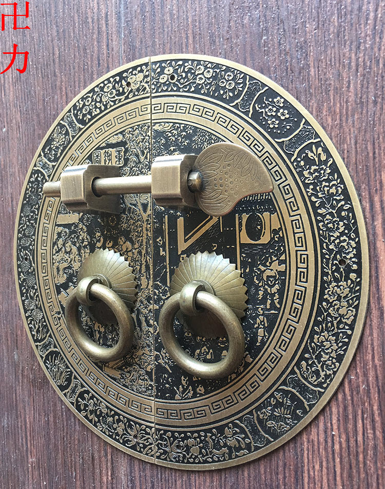 Chinese antique furniture of Ming and Qing Dynasties copper copper fittings door cabinet handle round door wardrobe bookcase cop<br>