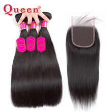 Queen Hair Products Brazilian Straight Hair Bundles With Closure Human Hair With Baby Hair Lace Closure With 3 Bundles Weave(China)