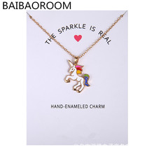Fashion Jewelry New Arrived Gold Color Glaze The Sparkled Is Real Unicorn Animal Clavicle Pendant Necklace Gift Card