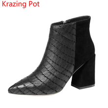 2018 New Arrival Cow Leather Zipper Thick High Heel Nightclub Winter Boots Gladiator Pointed Toe Handmade Women Ankle Boots L13(China)