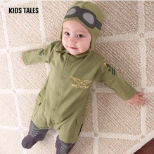 KIDS TALES Baby Brand 2017 Europe and The New Baby Pilot Romper Climbing Clothes Infant Long-sleeved Army Green Hooded Romper