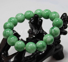 Free shipping Natural Fashion Beautiful Green STONE Beaded Bracelet Bangle style Fine jewe Noble 100% Natural STONE(China)