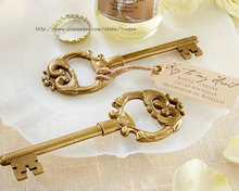 50pcs Key to My Heart Key Bottle Opener Gold Wedding Favors and gifts Wedding Bridal Party Guests gift box Real photos