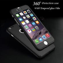 360 Degree Full Body Protection Cover Show Logo Case For iPhone 5 5S SE 6 6S 7 Plus 6S Plus Luxury Armor Cases W/ Tempered Glass