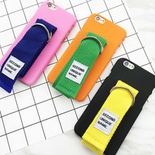 For Iphone 6 6S Plus 7 7 Plus Hard Hand Rope Phone Case With Wrist Band Back Cover Skin Mixed Color Coque Fundas YC2089