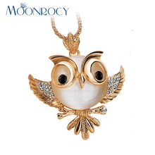 MOONROCY Rose Gold Color Free Shipping Fashion long Chain Crystal Necklace Sweater Jewelry Fashion Opal Owl Bird for Women gift