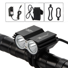 Black 7000 LM Cycling Lamp 2 x XM-L T6 LED Bike Light Front Bicycle Headlight Torch+6400mAh Rechargeable Battery Pack+Charger(China)