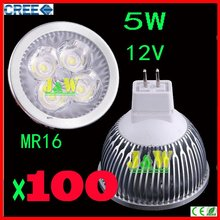 100pcs/lot CREE 5W 12V Lamp MR16/GU10/E27 Led light Spotlight Dimmable equal to 50 halogen watts DHL Free Shipping(China)