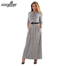 L-6XL Large Size Robe 2018 Spring Autumn Dress Big Size Red Elegance Long Dress Women Dresses With Belt Plus Size Women Clothing(China)
